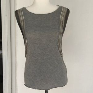AllSaints Hand Embellished Tank Top Sz. 4 Gray *